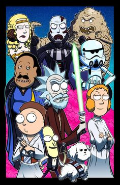 Here's our latest mash-up, Rick & Morty meets Star Wars! Use the FUUUOoorrce Morty - Collab w/ Mike Vasquez Rick Und Morty, Rick And Morty Full, Rick And Morty Crossover, Ricky Y Morty, Rick And Morty Poster, Images Star Wars, Geek Culture, Anime, Geek Stuff