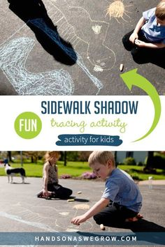 Use sidewalk chalk and creativity for this super easy shadow art activity for toddlers and preschoolers to do at home. Take art outside and have fun! Fine Motor Activities For Kids, Hands On Activities, Toddler Activities, Craft Activities, Shadow Drawing, Shadow Art, Drawing For Kids, Art For Kids, Toddler Preschool