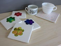ceramic decoration - uses contact paper to make stencils and masks for the alcohol ink.