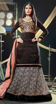 Black color Party Wear Lehnga Choli-Net Lehenga Choli