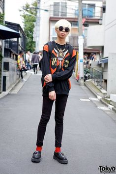 graphic sweatshirt, skinny jeans , and George Cox buckle creepers with red socks! #tokyofashion