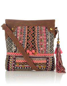 Rhiad Embellished Mirror Tassel Bag