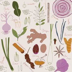 We went out last night for dinner as an early celebration of our wedding anniversary and had the most amazing food. There's a lot to be said for herbs and spices - food would be so bland without them. #pattern #herbsandspices #food #zoeingram #garlic #onion #surfacepattern