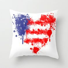 American Heart Throw Pillow by Trinity Bennett - $20.00