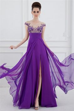 Y A Line Sheer Illusion Boat Neck Long Purple Chiffon Beaded Prom Dress With
