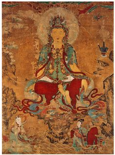 1730, korean Bodhisattva of Compassion, Ink and color on hemp, 115 x 81 in. Joseon period, Unheung Temple, S. Jeolla province.