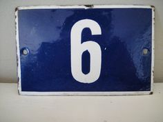 1930s French House Number Blue And White by RustyNailDesign