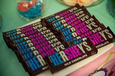 Sweet treat that makes sense for a shower but I'd probably just get the mini Hershey's bc no one will eat a whole one , just color in the he blue and she pink  with permanent sharpie , get sharpies from micheals