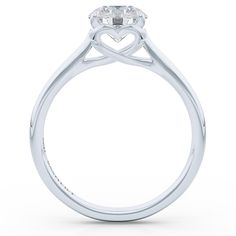 Bashert Jewelry| Create Your Custom Jewelry Online. Competitive Prices and Exquisite Craftsmanship. Classic Custom Made Elegant Solitaire Engagement Ring in White Gold and GIA certified Round Cut Diamond in our trade-marked Heart setting. Boca Raton Florida Bashert Jewelry