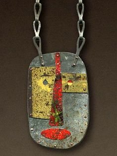 Judith Hoyt, Red Nose and Mouth Necklace, Found metal riveted to copper with steel chain