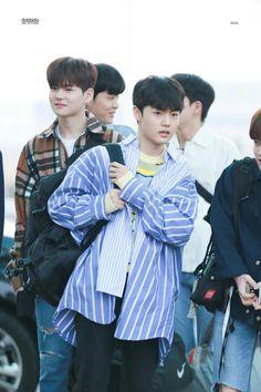 Doyoung and Yoshinori at Incheon Airport Yg Entertainment, Fandom, Yoshi, Korean Celebrities, Celebs, Brown Hair, Black Hair, White Shirt And Blue Jeans, Golden Treasure