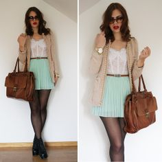 black tights with pastel clothes for spring