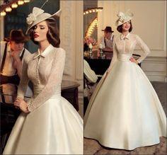 Cheap Vintage abito da sposa collo alto maniche lunghe sheer corpetto di pizzo…