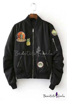 Cool Girl Pineapple Pattern Zip Detail Jacket