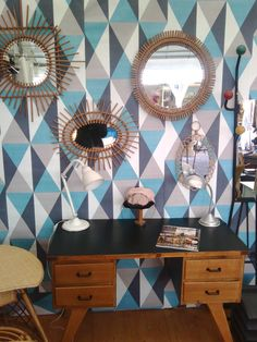 stand chatou, deco vintage, miroir osier Vanity, Cabinet, Mirror, Storage, Furniture, Home Decor, Wicker Mirror, Vintage Decor, Barn