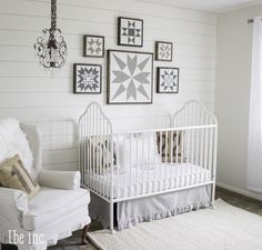 White Gender Neutral Nursery - love the vintage, farmhouse chic feel!