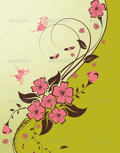 Floral background  #GraphicRiver         Decorative Floral background with butterfly and wave pattern, vector illustration     Created: 15June12 GraphicsFilesIncluded: JPGImage #VectorEPS Layered: Yes MinimumAdobeCSVersion: CS Tags: background #border #bud #butterfly #creative #decoration #design #drawing #floral #flower #frame #illustration #leaf #nature #scroll #silhouette #spring #vector #wallpaper #wave
