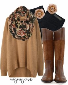 All Brown Fall Outfit With Long Boots would switch out the boots for combat boots though