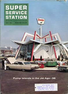 Pump Islands in the Jet Age, The New York World's Fair Sinclair Service Station is shown here. Drive In, Vintage Advertisements, Vintage Ads, Vintage Signs, Vintage Hotels, Vintage Stuff, Pompe A Essence, Vintage Gas Pumps, Old Gas Stations