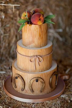 "Wood wedding cake. We can help achieve this look at Dallas Foam with cake dummies, cupcake stands and cakeboards. Just use ""2015pinterest"" as the item code and receive 10% off your first order @ www.dallas-foam.com. Like us on Facebook for more discount offers!"