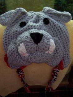 bulldog crochet beanie