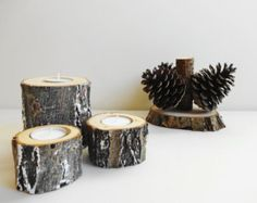 Wood Candle Holders, Tree Branch Candle Holder, Wedding Candle Holders, Rustic Candle Holders Log Candle Holders, Set of 3