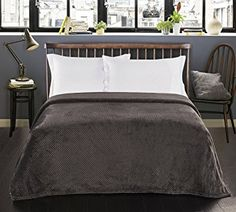 Charcoal Grey Double 170x210 cm Fleece Microfibre Soft Touch Texture Large Snug Blanket / Armchair Sofa Bed Throw Henry: Amazon.co.uk: Kitchen & Home
