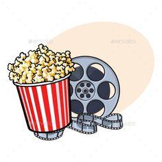 Cinema Objects - Popcorn Bucket and Retro Film