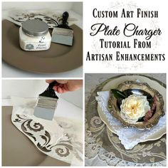 Restyling inexpensive, store bought plate chargers is a fun and creative way to customize place settings and set a beautiful table for a dinner party! The user friendly art products and tools from Artisan Enhancements make this project a breeze! We started by applying two coats of brown paint to this gold, plastic charger. Our