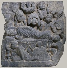 Death of the Buddha (Parinirvana), 2nd–4th century. Pakistan, ancient region of Gandhara. Schist