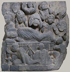 Death of the Buddha (Parinirvana), 2nd–4th century. Pakistan, ancient region of Gandhara. Schist
