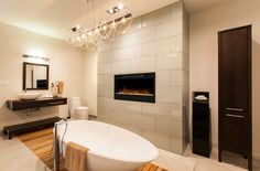 Where to Splurge and Where to Save During Your Home Remodel #electricfireplace #bathroom #decor