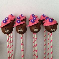 12 Teddy Bear Cake Pops Birthday Party Favors Vintage Tea Party Sweets Table Candy Buffet Teddy