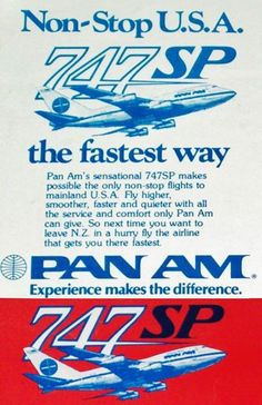 PanAm advert for New Zealand 1978