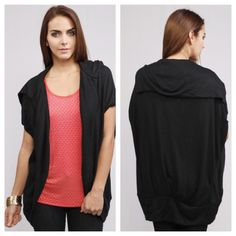 """Black oversized cocoon top**FITS UP TO 1x Black oversized cocoon top. Brand new with tags. 80% acrylic/ 20% polyamide. Lightweight. Runs quite large- I am comfortably a 1x-2x and this fits me in a Large. *Please excuse the photos. I am definitely not a model  Small: 27"""" long. Medium: 28"""" long. Large: 29"""" long.                                                                     Price is firm unless bundled. No tradesAvailability- S•M•L • 2•2•2 Boutique Tops"""