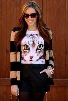 Striped Sweater & Topshop Cat Shirt