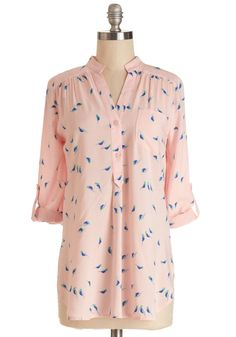 Falling in Puppy Love Tunic in Birds. A twinkle in your eye and two smiles shared over a homemade dinner - this could be the start of something wonderful! #pink #modcloth