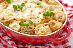Casserole Recipe: Cheesy Chicken & Mushroom Crepe Casserole