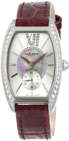 Akribos XXIV Women's AKR471PU Lady Diamond Collection Diamond Swiss Quartz Watch Akribos XXIV. $124.99. 60 second subdial is located at the 6 o?clock position; Two year manufactures warranty. Water-resistant to 99 feet (30 M). Reliable Swiss Quartz movement the watch features a unique blue Mother-Of-Pearl inner dial surrounded by genuine diamonds. The watch comes with a genuine blue leather strap completed with a stainless steel engraved Akribos tang buckle. A...
