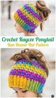 Kaycee Ponytail or Bun Beanie Hat Pattern - LOVE the bright colors in this ponytail hat