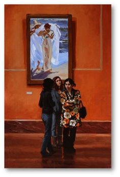 """Discussing Sorolla,"" Pauline Roche, 2014, oil, 30 x 20"", private collection."