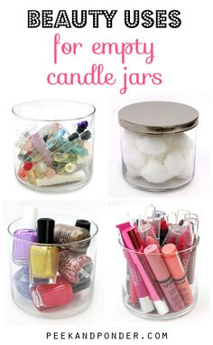 We all love our Bath and Body Works candles, and now we can use them after we've burned them down! When you clean out your candle jars, you can use them as storage containers! Empty Candle Jars, Glass Jars, Mason Jars, Make Up Organizer, Do It Yourself Inspiration, Ideas Geniales, Idee Diy, Makeup Storage, Makeup Organization