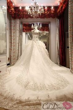 Gorgeous A-line Sweetheart Cathedral Train Satin and Lace with Rhinestone Luxury Wedding Dress - CDdress.com