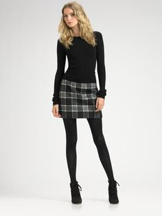 plaid skirt | Theory Kalima Plaid Skirt in Gray (charcoal) - Lyst