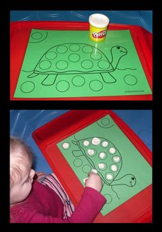 Laminated Play-Dough mat for little hands.  We gave the turtle spots while learning to roll dough into balls.