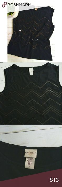 Covington sleeveless sequined top Covington sleeveless top with chevron  sequined pattern.  The front has a sheer mesh layer which has the sequins.  It is black with black sequins.  Pet free smoke free home. Covington Tops
