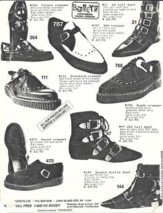 vintage punk  rock and goth shoes. Creepers, had a pair that I painted BeeGees onto them.  That's right...I'm a rebel Dottie.