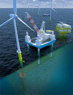 Javier Zarracina for WirtschaftWoche Offshore Wind Turbines, Illustration, Illustrations, Character Illustration