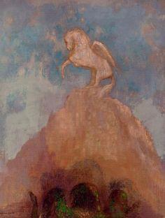 odilon redon white pegasus painting