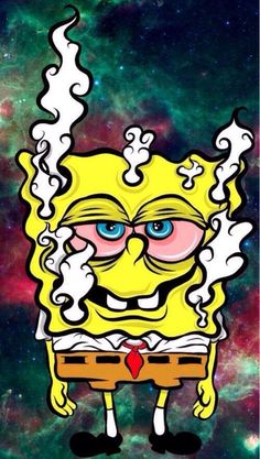 spongebob, weed, and marijuana image Cartoon Wallpaper, Trippy Wallpaper, Wallpaper Lockscreen, Screen Wallpaper, Arte Dope, Dope Art, Cartoon Kunst, Cartoon Art, Marijuana Art